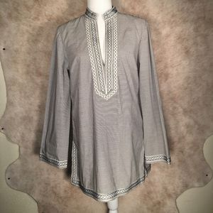 ☾TORY BURCH Aleksi Striped Embroidered Tunic Top☽